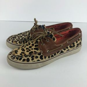 Sperry leopard print boat shoes leather 8.5